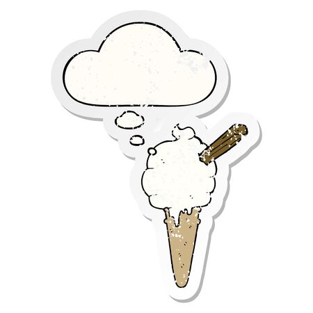 cartoon ice cream with thought bubble as a distressed worn sticker