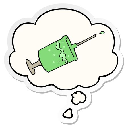 cartoon syringe needle with thought bubble as a printed sticker
