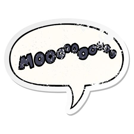 cartoon moo noise with speech bubble distressed distressed old sticker