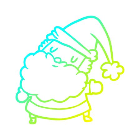 cold gradient line drawing of a santa claus