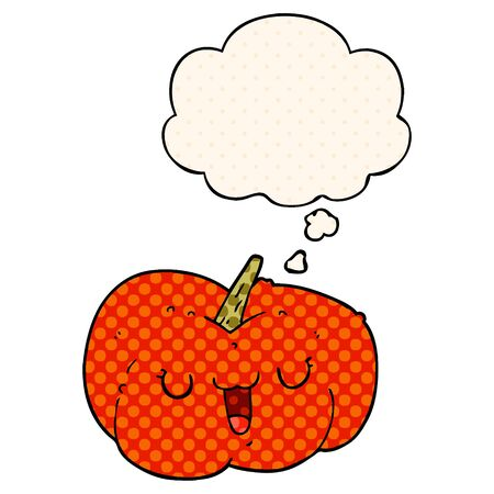 cartoon pumpkin with thought bubble in comic book style