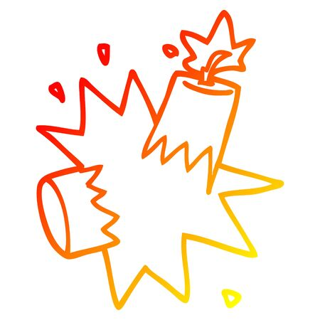 warm gradient line drawing of a cartoon dynamite