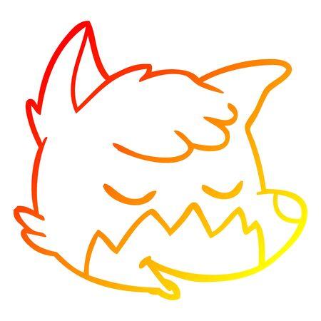 warm gradient line drawing of a cartoon fox face Illustration