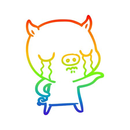 rainbow gradient line drawing of a cartoon pig crying pointing 일러스트
