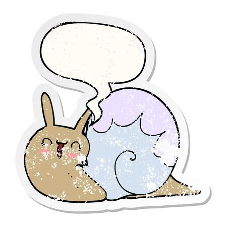 cute cartoon snail with speech bubble distressed distressed old sticker