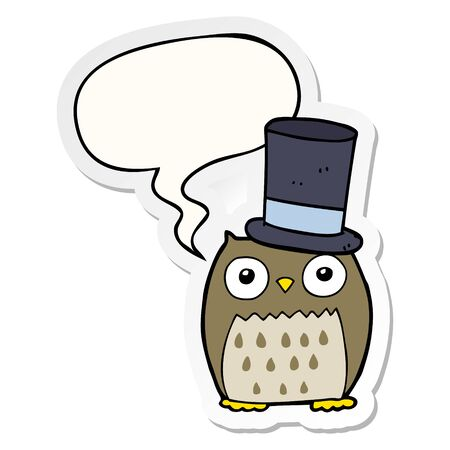 cartoon owl wearing top hat with speech bubble sticker