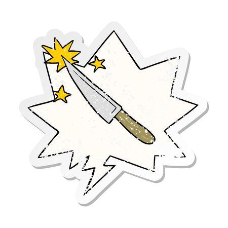 cartoon sharp kitchen knife with speech bubble distressed distressed old sticker