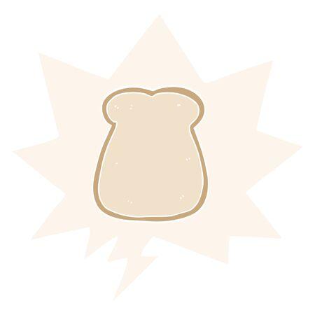 cartoon slice of bread with speech bubble in retro style 写真素材 - 129798625