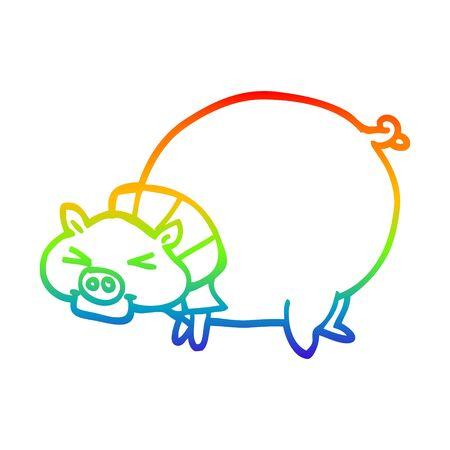 rainbow gradient line drawing of a cartoon fat pig Ilustrace
