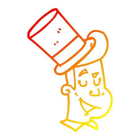 warm gradient line drawing of a cartoon man wearing top hat  イラスト・ベクター素材