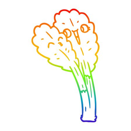 rainbow gradient line drawing of a cartoon salad leaves Stock Illustratie