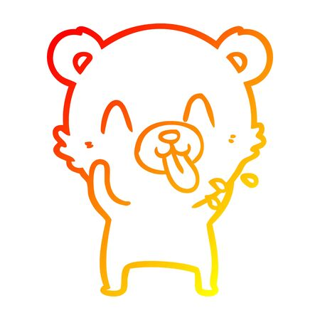 warm gradient line drawing of a rude cartoon polar bear sticking out tongue