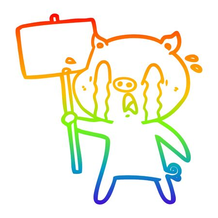 rainbow gradient line drawing of a crying pig cartoon with protest sign Фото со стока - 129798830