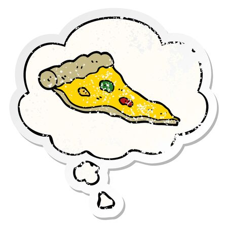 cartoon pizza with thought bubble as a distressed worn sticker