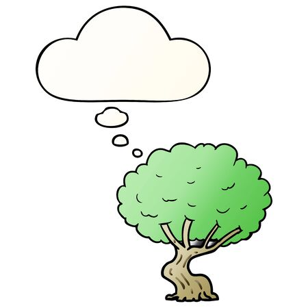 cartoon tree with thought bubble in smooth gradient style