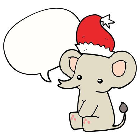 cute christmas elephant with speech bubble