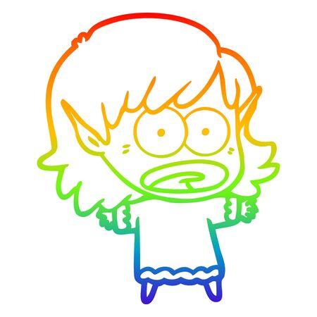 rainbow gradient line drawing of a cartoon shocked elf girl Illusztráció