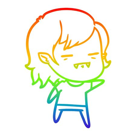 rainbow gradient line drawing of a cartoon undead vampire girl pointing