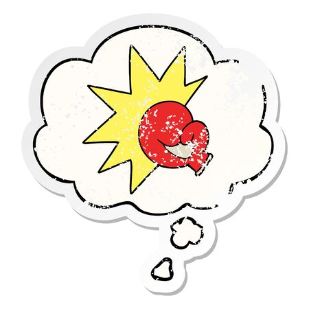 boxing glove cartoon with thought bubble as a distressed worn sticker