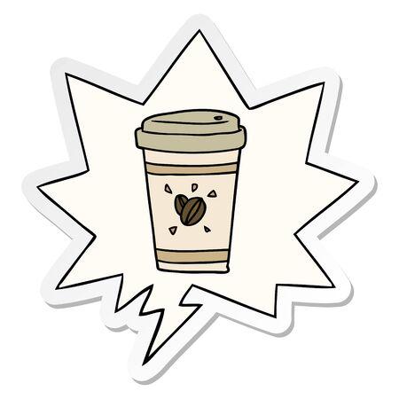 cartoon cup of takeout coffee with speech bubble sticker Illusztráció