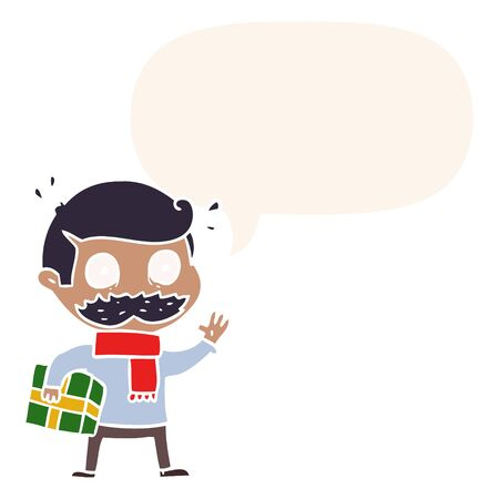 cartoon man with mustache and christmas present with speech bubble in retro style