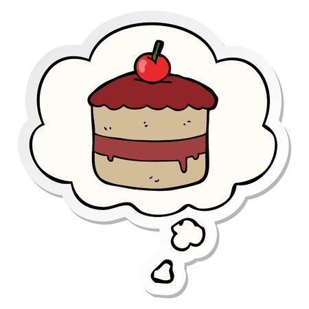 cartoon cake with thought bubble as a printed sticker