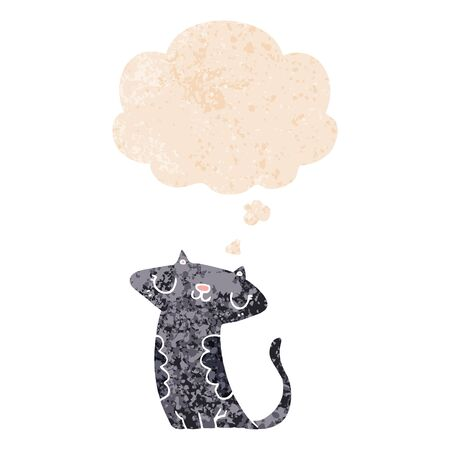 cartoon cat with thought bubble in grunge distressed retro textured style