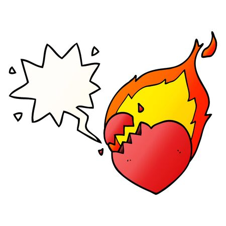 cartoon flaming heart with speech bubble in smooth gradient style