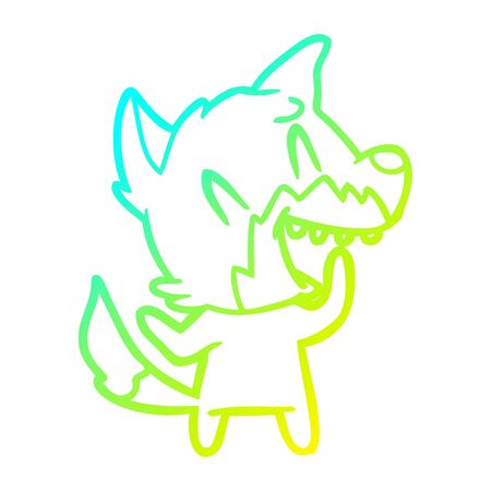 cold gradient line drawing of a laughing fox cartoon