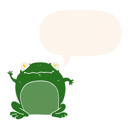 cartoon frog with speech bubble in retro style  イラスト・ベクター素材