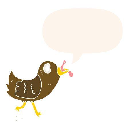 pájaro de dibujos animados con gusano con bocadillo en estilo retro