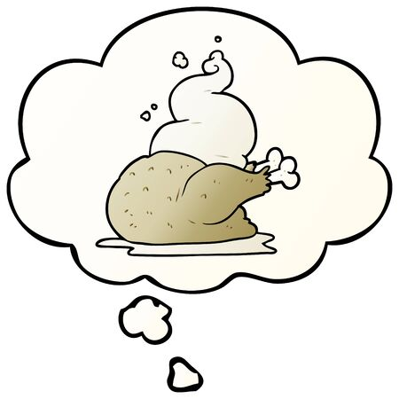 cartoon cooked chicken with thought bubble in smooth gradient style