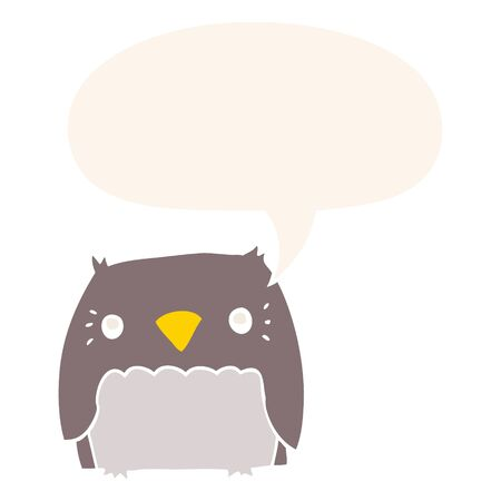 cute cartoon owl with speech bubble in retro style