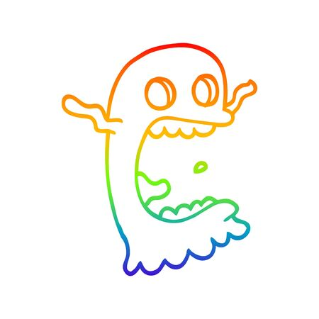 rainbow gradient line drawing of a cartoon spooky ghost
