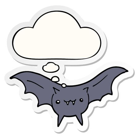 cartoon bat with thought bubble as a printed sticker