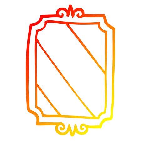 warm gradient line drawing of a cartoon mirror