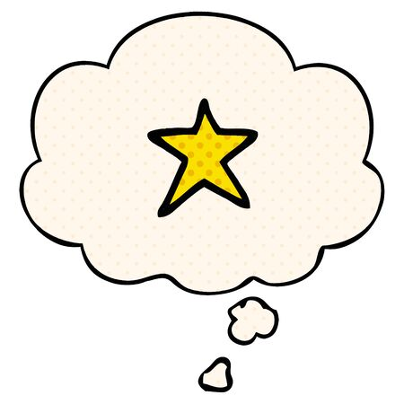 cartoon star symbol with thought bubble in comic book style