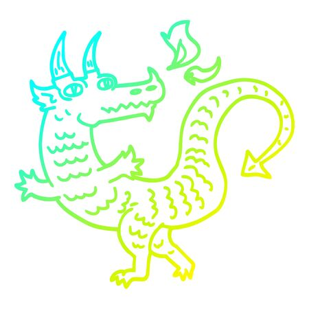 cold gradient line drawing of a cartoon dragon