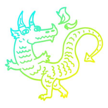 dessin au trait à gradient froid d'un dragon de dessin animé