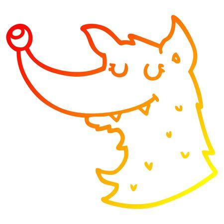 warm gradient line drawing of a cartoon wolf Illustration