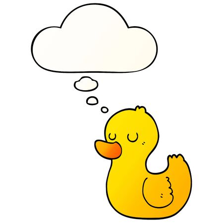 cartoon duck with thought bubble in smooth gradient style
