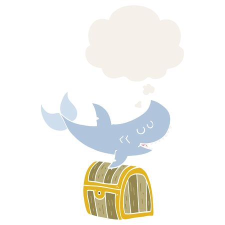 cartoon shark swimming over treasure chest with thought bubble in retro style
