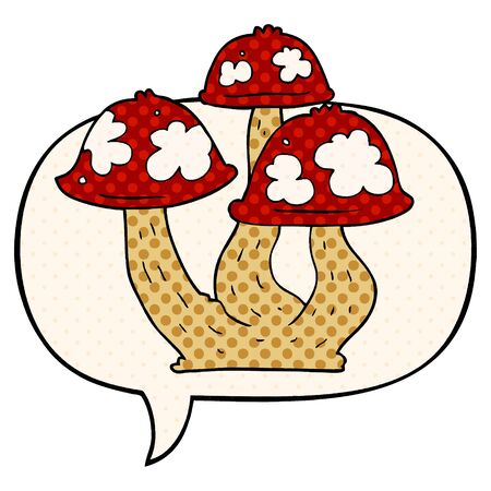 cartoon mushrooms with speech bubble in comic book style
