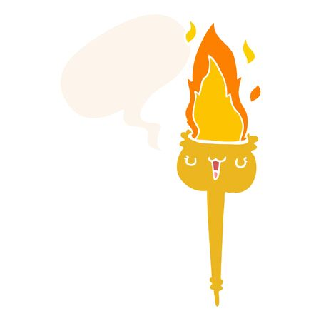 cartoon flaming torch with speech bubble in retro style Stock fotó - 129815457