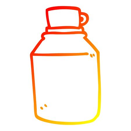 warm gradient line drawing of a cartoon hot drinks flask Illustration