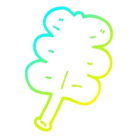 cold gradient line drawing of a cartoon autumnal leaf Illusztráció