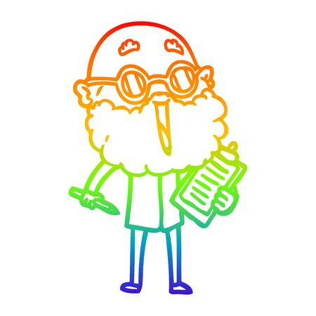 rainbow gradient line drawing of a cartoon joyful man with beard  イラスト・ベクター素材