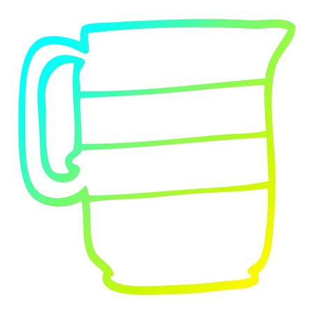 cold gradient line drawing of a cartoon milk jug