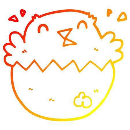 warm gradient line drawing of a cartoon hatching chick