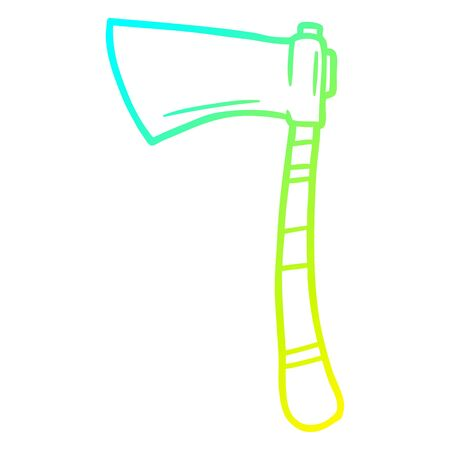 cold gradient line drawing of a cartoon viking axe